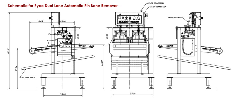 Schematic for Ryco Dual Lane Table Top Automatic Pin Bone Remover