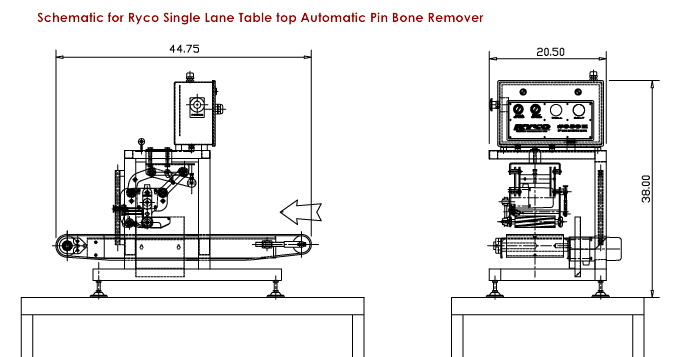 Schematic for Ryco Single Lane Table Top Pin Bone Remover Machine